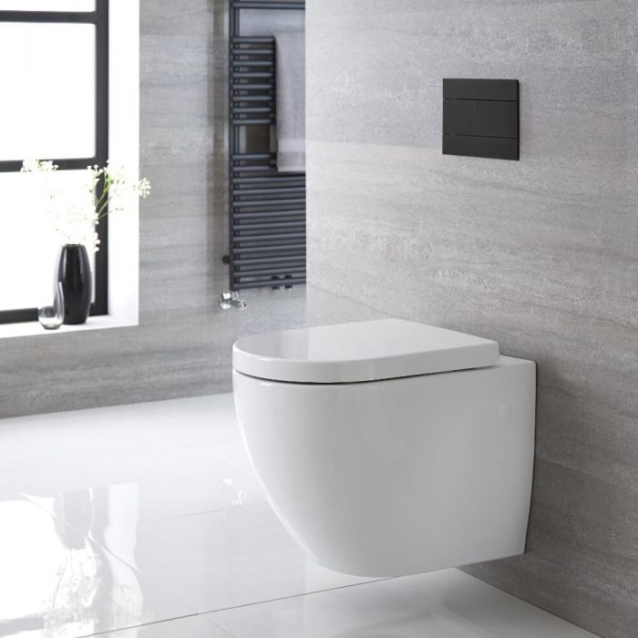 Milano Irwell - White Modern Round Rimless Wall Hung Toilet with Soft Close Seat