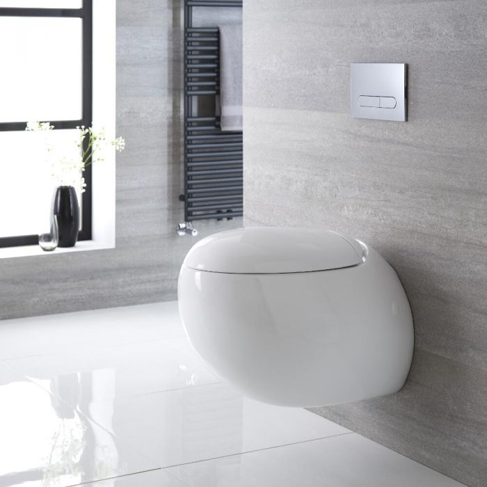Milano Mellor - White Modern Round Wall Hung Toilet with Soft Close Seat