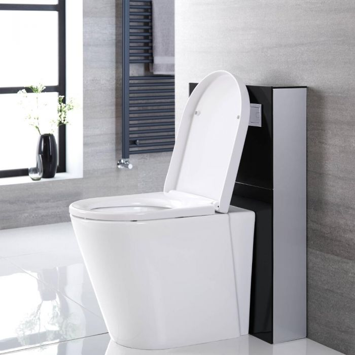 Milano Arca - Black 500mm Back to Wall WC Unit (Excluding Pan)