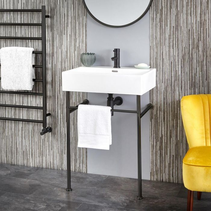 Milano Elswick - 600mm Basin with Black Washstand