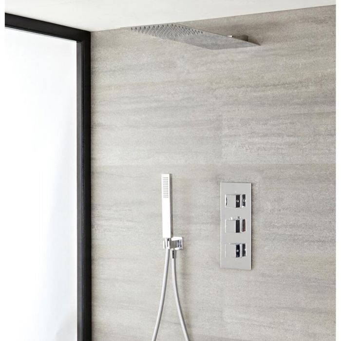 Milano Arvo - Chrome Thermostatic Shower with Slim Shower Head and Hand Shower (2 Outlet)