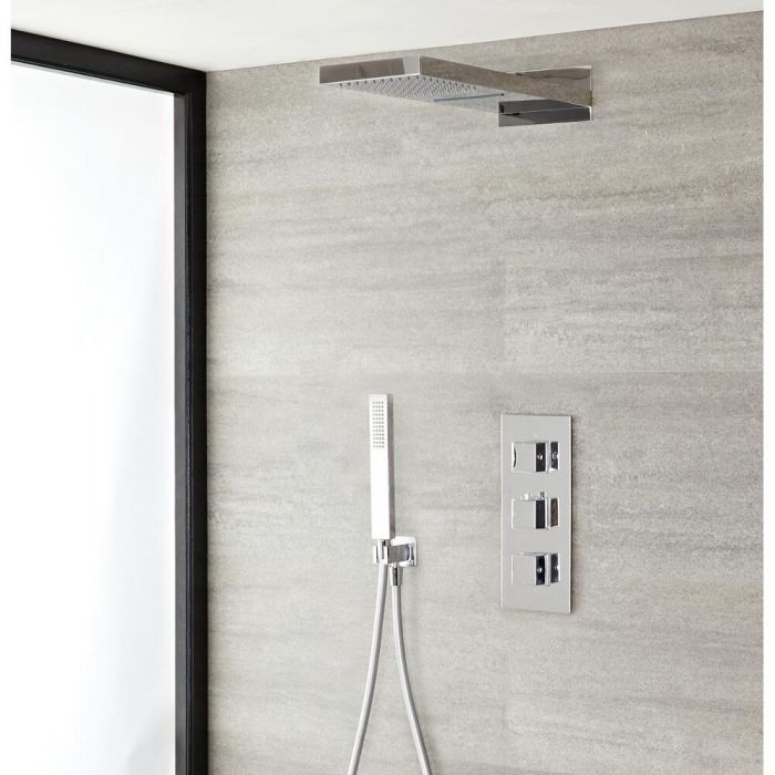 Milano Arvo - Chrome Thermostatic Shower with Diverter, Waterblade Shower Head and Hand Shower (3 Outlet)