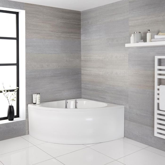 Milano Newby - White Modern Reversible Corner Bath with Panel - 1350mm x 1350mm