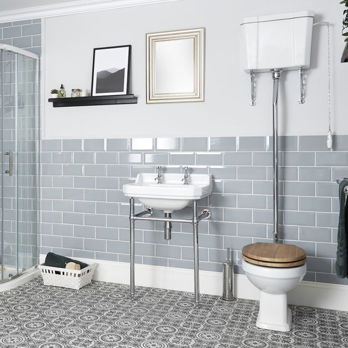 Milano Richmond - Traditional Toilet Pan with High Level Cistern and Choice of Seat