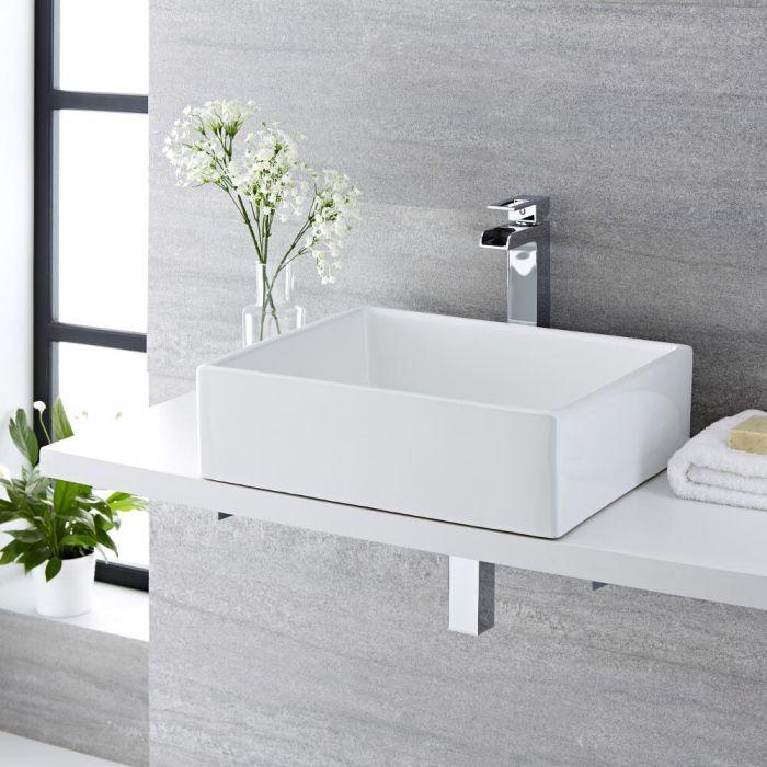 Milano Westby - White Modern Rectangular Countertop Basin - 490mm x 390mm (No Tap-Holes)