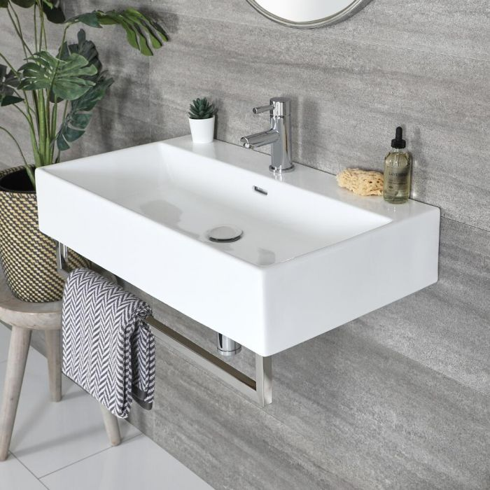 Milano Elswick - White Modern 750mm x 420mm Rectangular Wall Hung Basin with Chrome Towel Rail