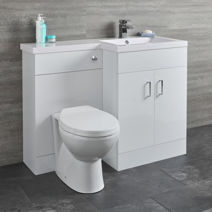 Milano Ren - White Right-Hand Combination Toilet and Basin Unit