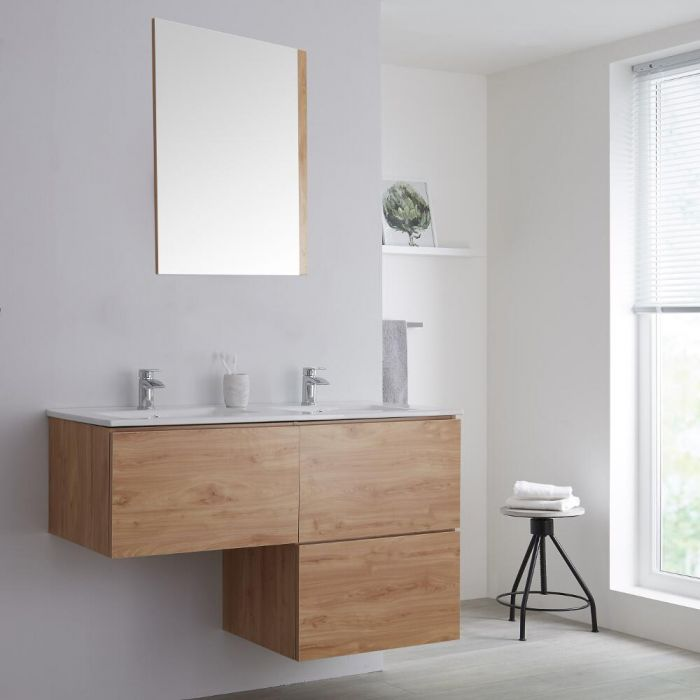 Milano Oxley - Oak L-Shape 1200mm Wall Hung Vanity Unit with Double Basin
