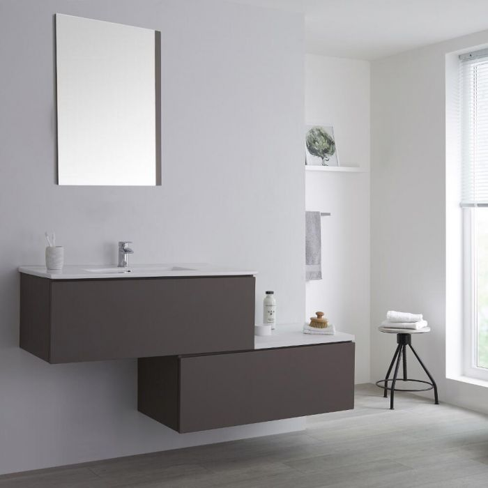 Milano Oxley - Grey 1600mm Wall Hung Stepped Vanity Unit Grey with Basin