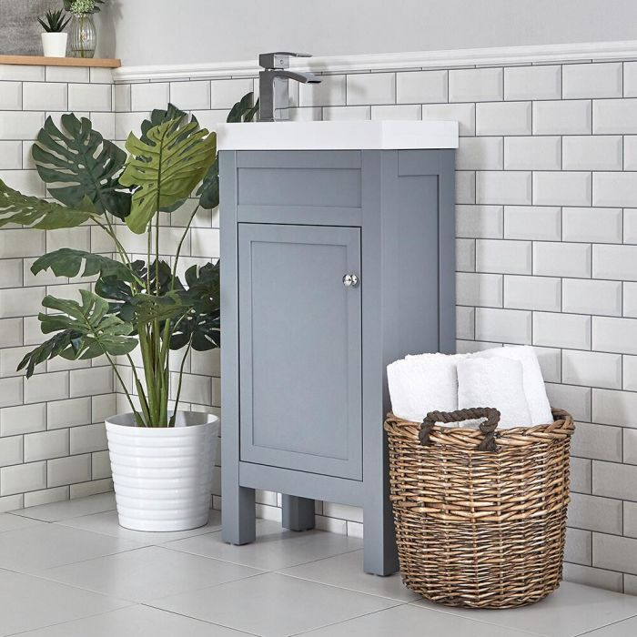 Milano Aston - Light Grey 440mm Traditional Cloakroom Vanity Unit with Basin