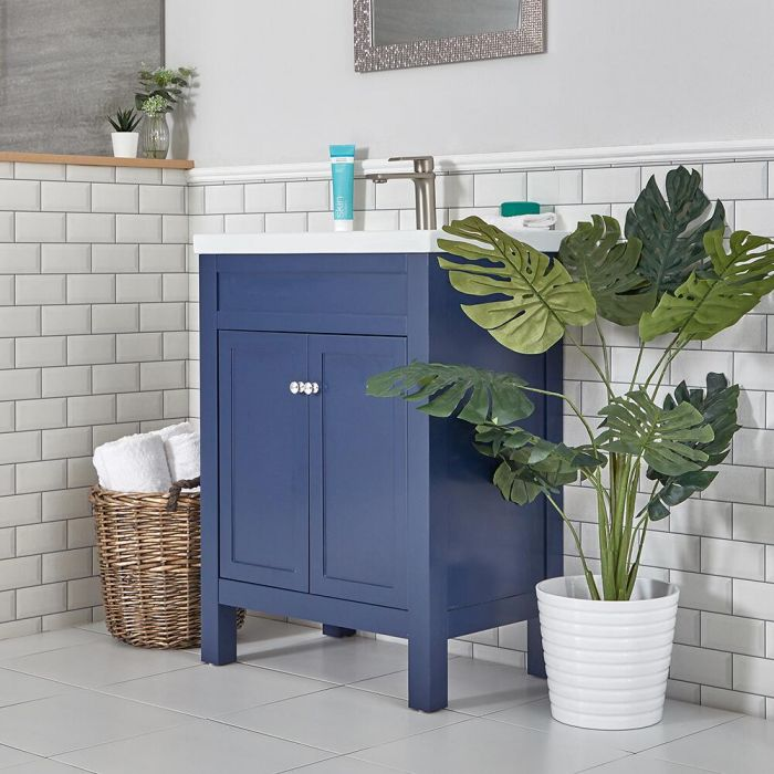 Milano Aston - Navy 600mm Traditional Vanity Unit with Basin