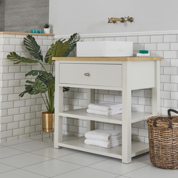 Milano Henley - Antique White 840mm Traditional Vanity Unit with Square Countertop Basin