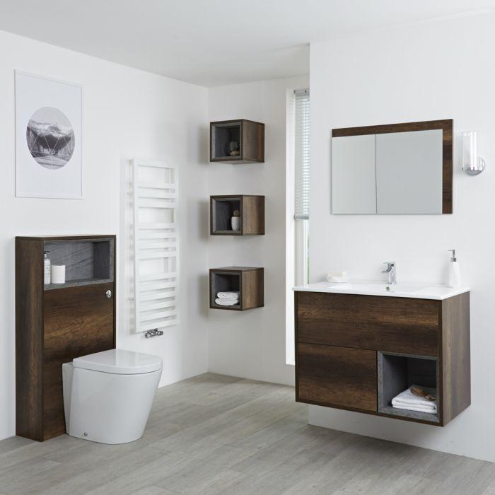 Milano Bexley - Dark Oak Modern 800mm Vanity Unit, WC Unit, Pan, Three Storage Units and Mirror