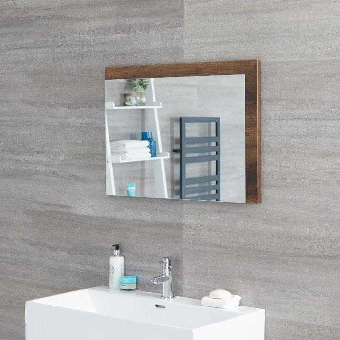 Milano Bexley - Dark Oak Modern Wall Hung Mirror - 700mm x 500mm