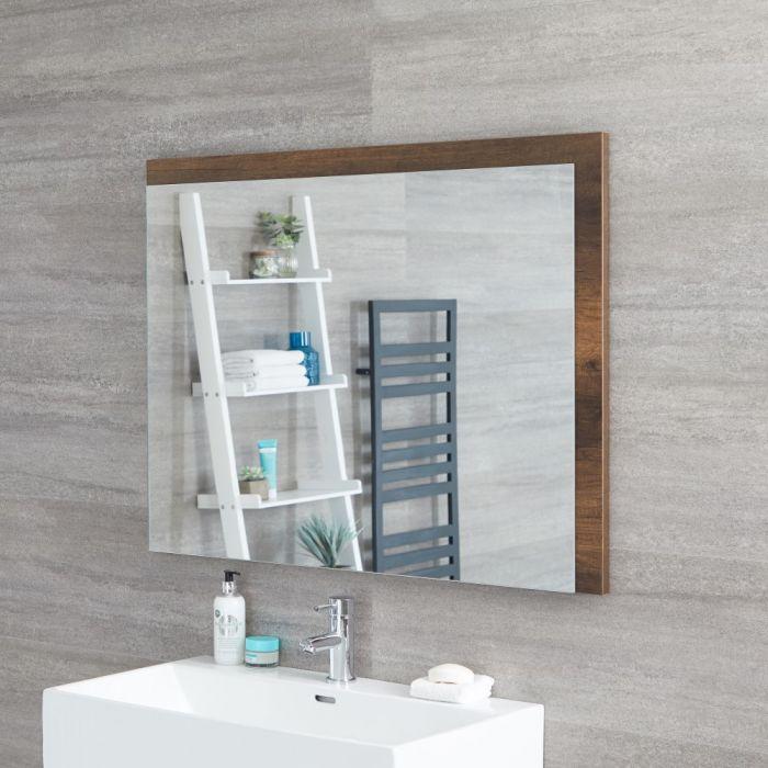 Milano Bexley - Dark Oak Modern Wall Hung Mirror - 1000mm x 750mm