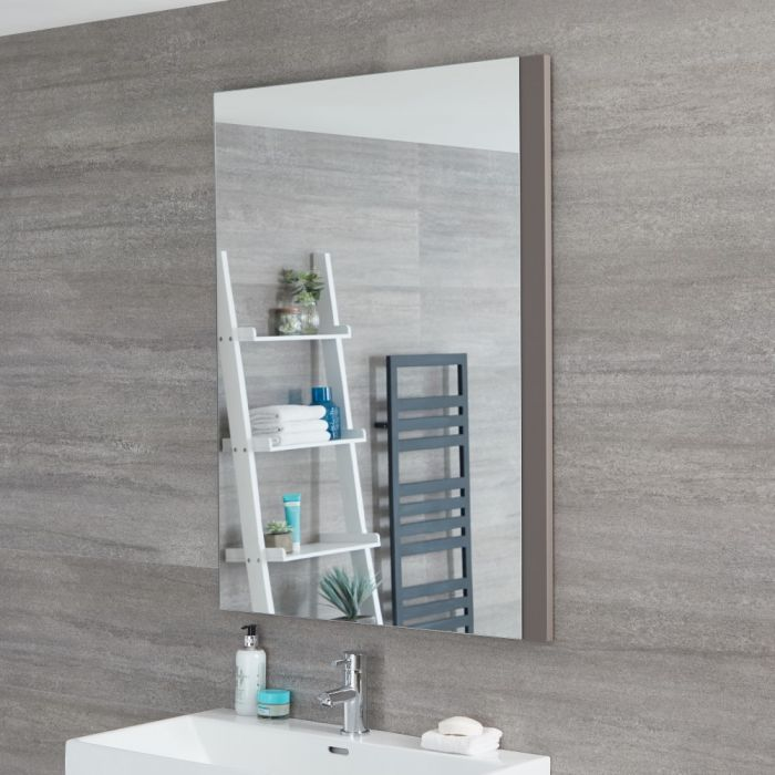 Milano Oxley - Grey Modern Wall Hung Mirror - 1000mm x 750mm