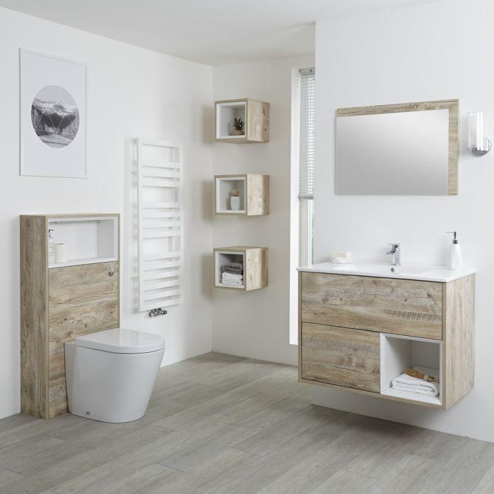 Milano Bexley - Light Oak Modern 800mm Open Shelf Vanity Unit, WC Unit and Back to Wall Pan
