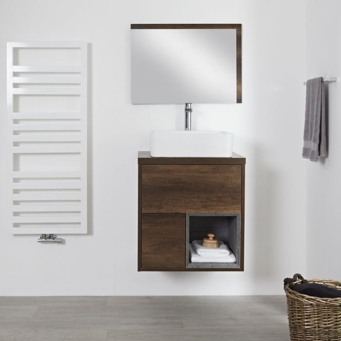 Milano Bexley - Dark Oak 600mm Wall Hung Open Shelf Vanity Unit with Square Countertop Basin