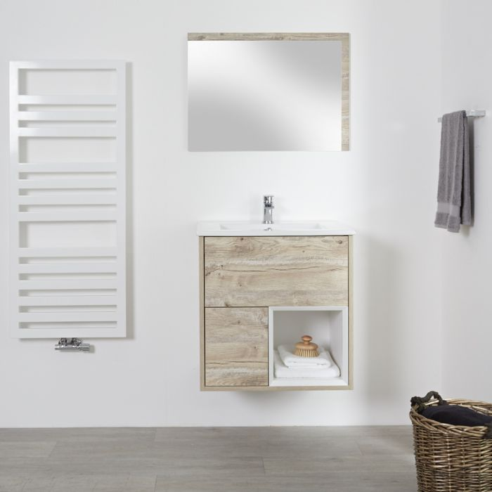Milano Bexley - Light Oak 600mm Wall Hung Open Shelf Vanity Unit with Basin