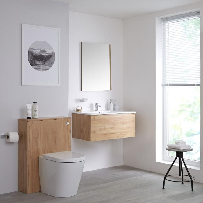 Milano Oxley - Golden Oak 800mm Vanity Unit with Basin, WC Unit, Back to Wall Pan