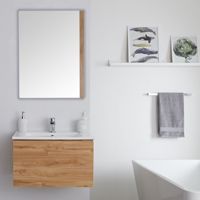 Milano Oxley - Golden Oak 600mm Wall Hung Vanity Unit with Basin