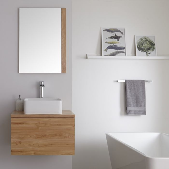 Milano Oxley - Golden Oak 600mm Wall Hung Vanity Unit with Square Countertop Basin