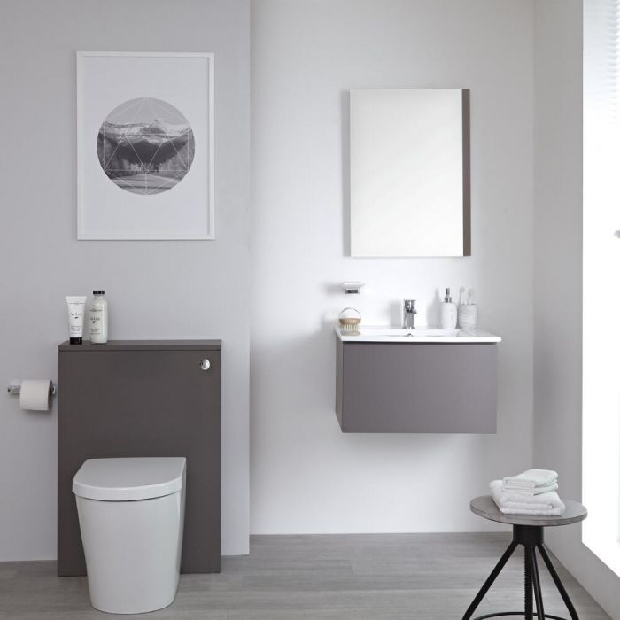 Milano Oxley - Grey 600mm Vanity Unit with Basin, WC Unit, Back to Wall Pan