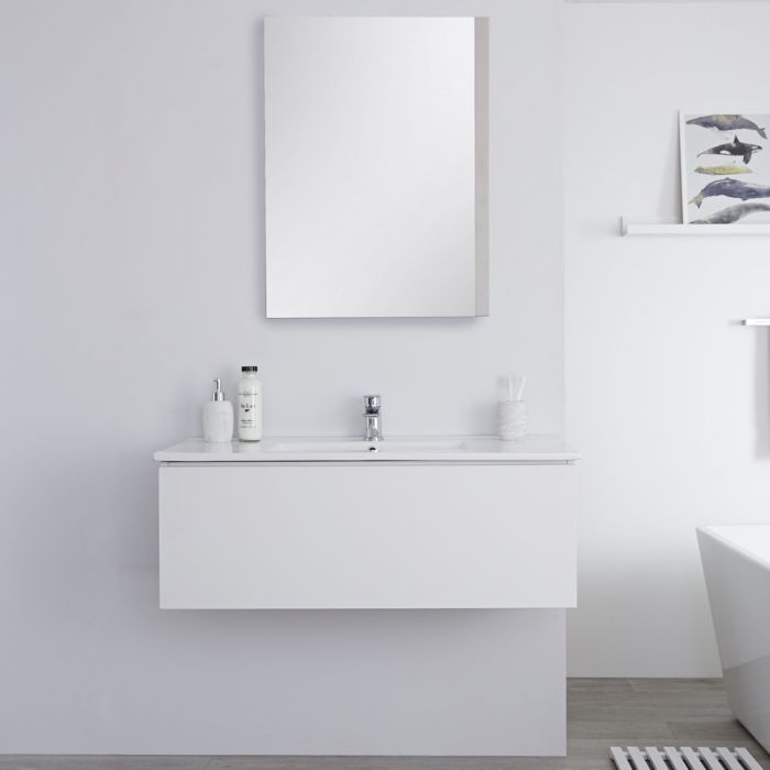 Milano Oxley - White 1000mm Wall Hung Vanity Unit with Basin