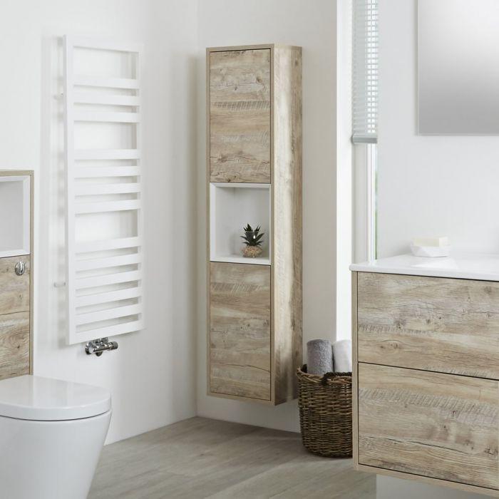 Milano Bexley - Light Oak Modern Wall Hung Open Storage Unit - 350mm x 1500mm