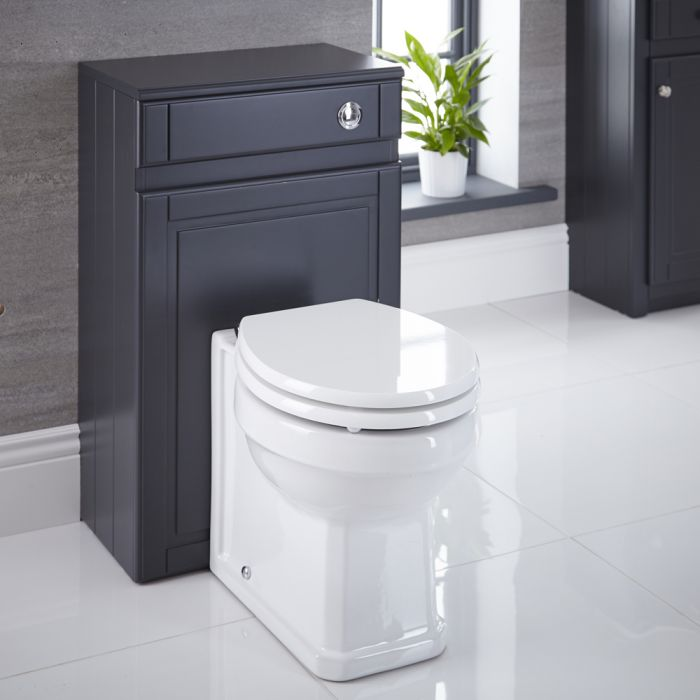 Milano Edgworth - Anthracite Traditional 500mm WC Unit with Back to Wall Toilet, Cistern and Seat