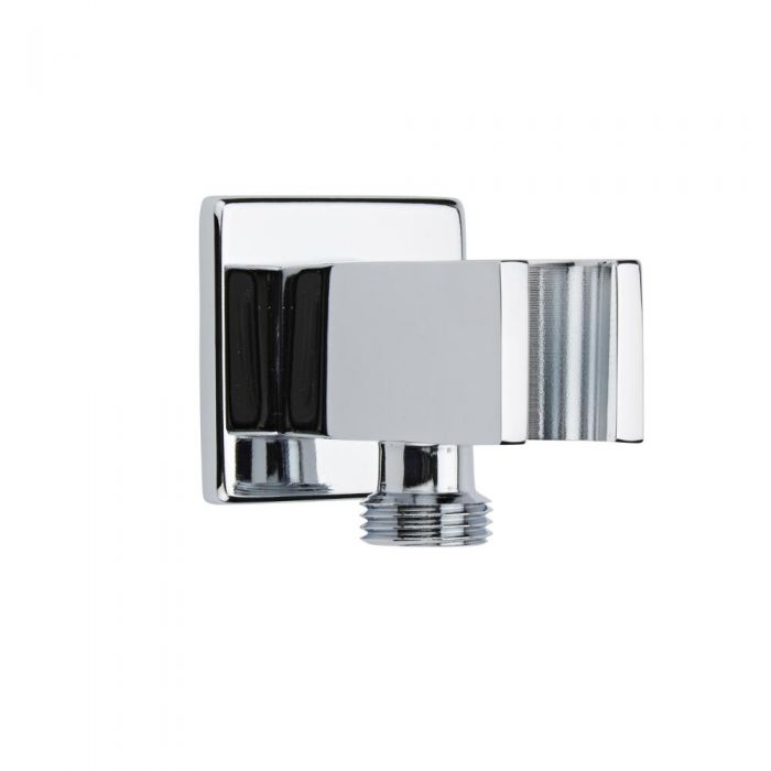 Milano Arvo - Modern Square Integrated Outlet Elbow and Bracket for Hand Showers - Chrome