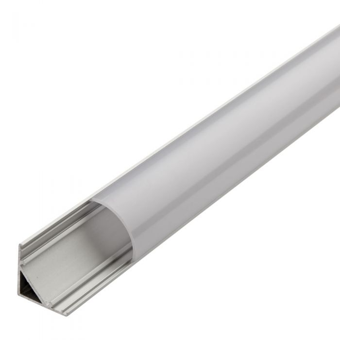 Biard V-Shaped Aluminium Profile with Frosted Round Cover and End Cap Set