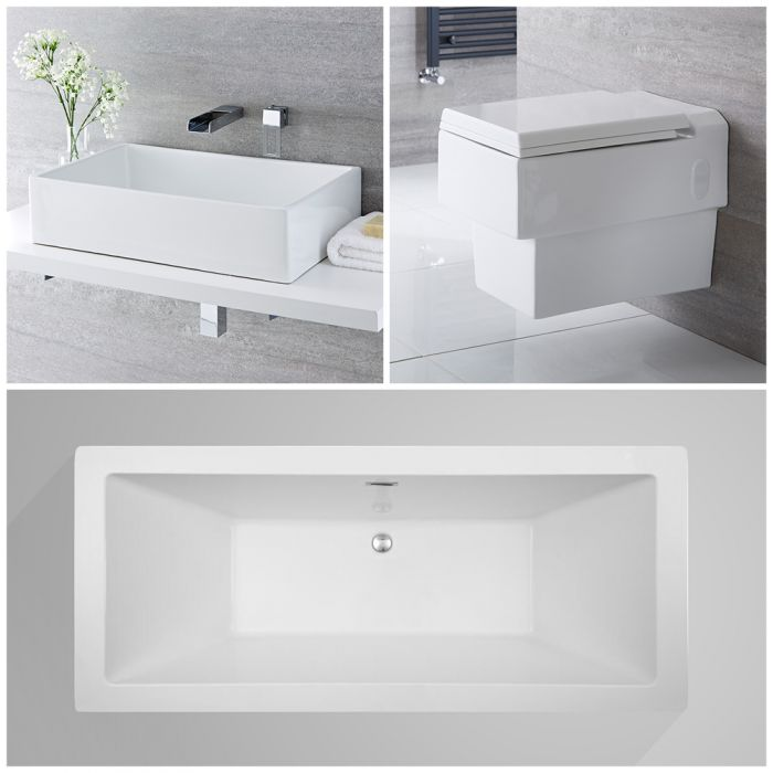 Milano Westby - Complete Modern Bathroom Suite with Freestanding Bath and Taps