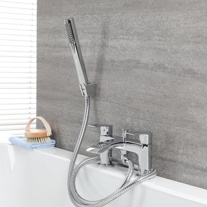 Milano Razor - Modern Deck Mounted Bath Shower Mixer Tap with Hand Shower - Chrome