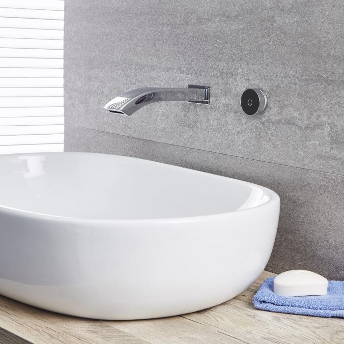 Milano Razor - Digital Wall Mounted Bath or Basin Mixer Tap - Chrome