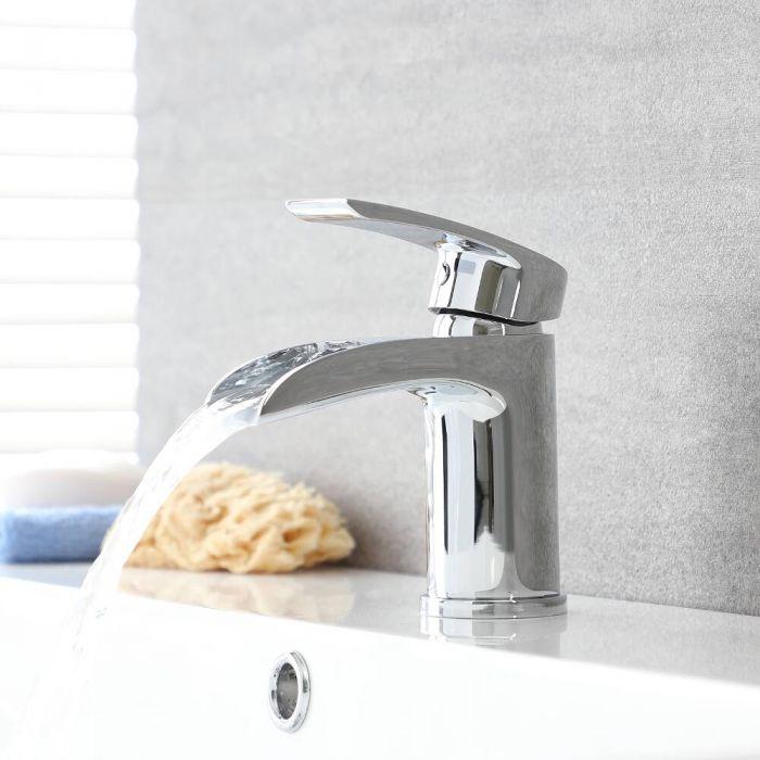Milano Razor - Modern Deck Mounted Waterfall Mono Basin Mixer Tap - Chrome