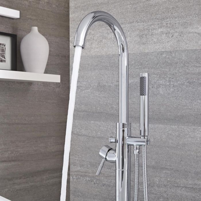 Milano Mirage - Modern Freestanding Bath Shower Mixer Tap with Hand Shower - Chrome