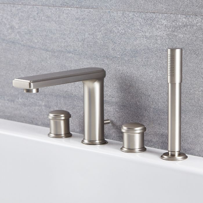 Milano Ashurst - 4 Tap-Hole Modern Deck Mounted Bath Shower Mixer Tap with Hand Shower - Brushed Nickel