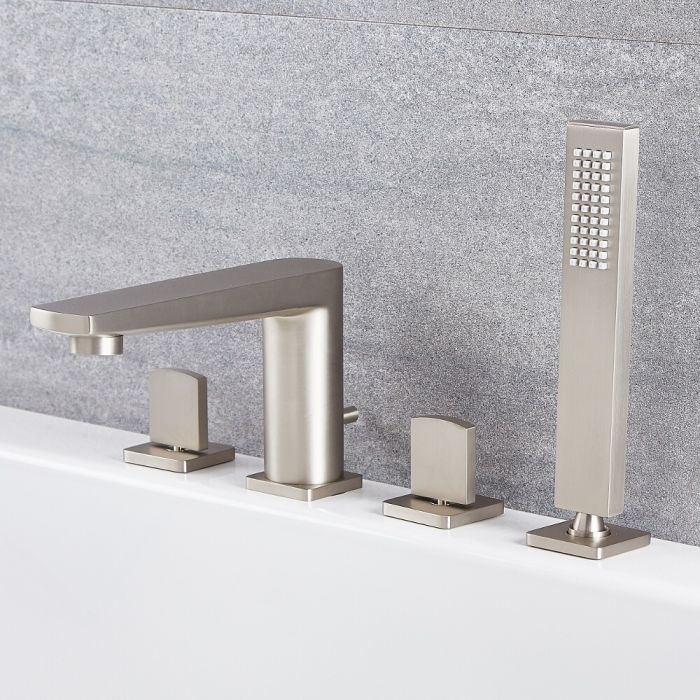 Milano Hunston - 4 Tap-Hole Modern Deck Mounted Bath Shower Mixer Tap with Hand Shower - Brushed Nickel