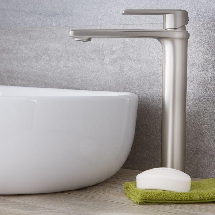 Milano Ashurst - Modern Deck Mounted High Rise Mono Basin Mixer Tap - Brushed Nickel