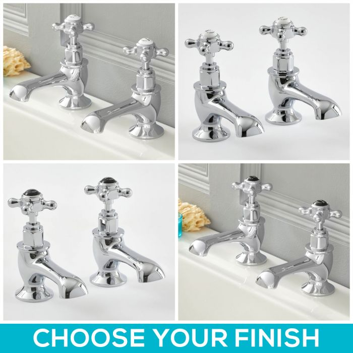 Milano Elizabeth - Traditional Crosshead Bath Pillar Taps - Choice of Finish