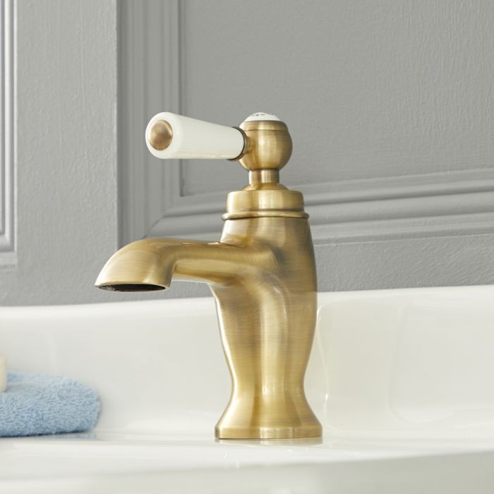 Milano Elizabeth - Traditional Lever Mono Basin Tap - Brushed Gold
