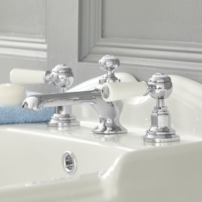 Milano Elizabeth - Traditional Lever 3 Tap-Hole Basin Mixer Tap - Choice of Finish