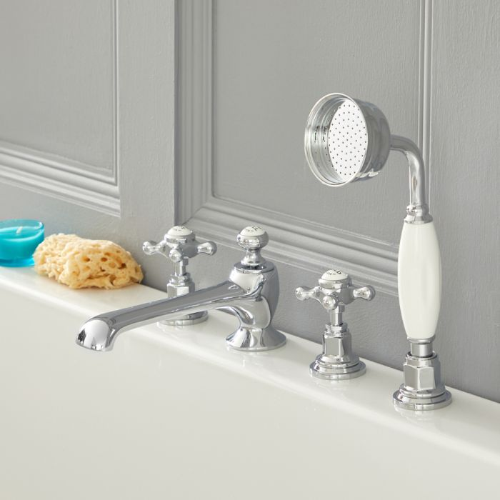 Milano Elizabeth - Traditional 4 Tap-Hole Crosshead Bath Shower Mixer Tap - Chrome and White
