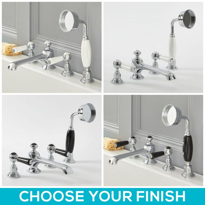 Milano Elizabeth - Traditional Lever 4 Tap-Hole Bath Shower Mixer Tap - Choice of Finish