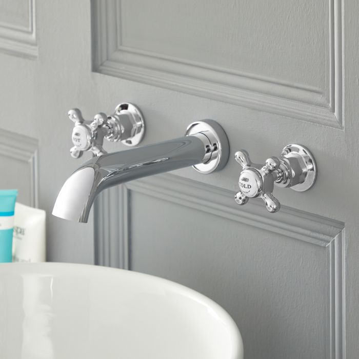 Milano Elizabeth - Traditional Wall Mounted 3 Tap-Hole Crosshead Basin Mixer Tap - Chrome and White