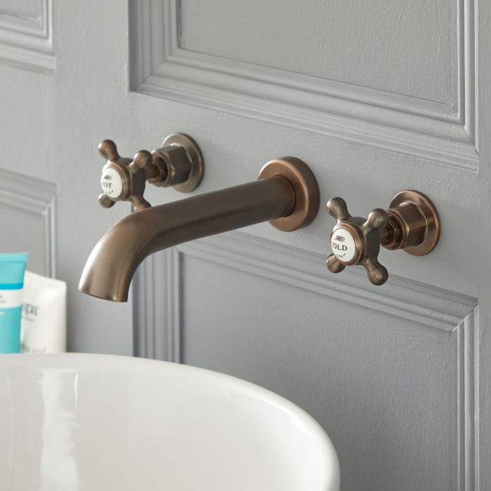 Milano Elizabeth - Traditional Wall Mounted 3 Tap-Hole Crosshead Basin Mixer Tap - Oil Rubbed Bronze