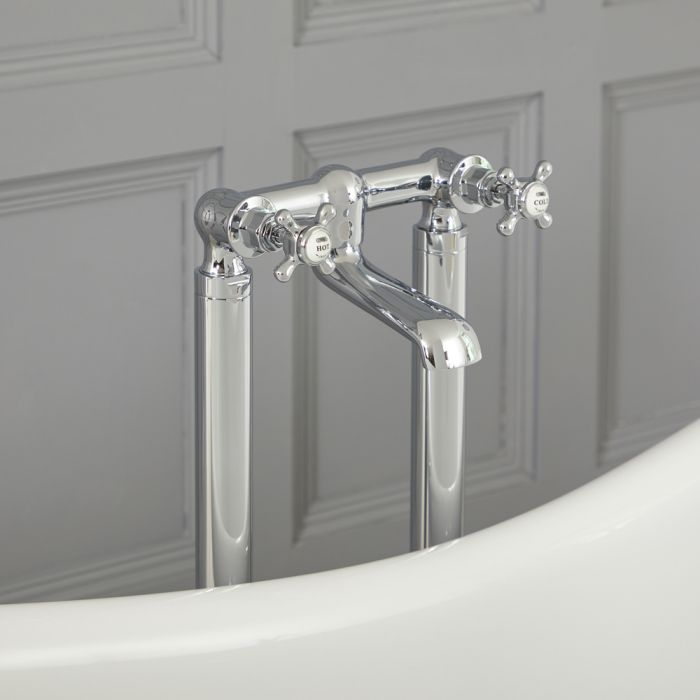 Milano Elizabeth - Traditional Freestanding Crosshead Bath Filler Tap - Chrome and White
