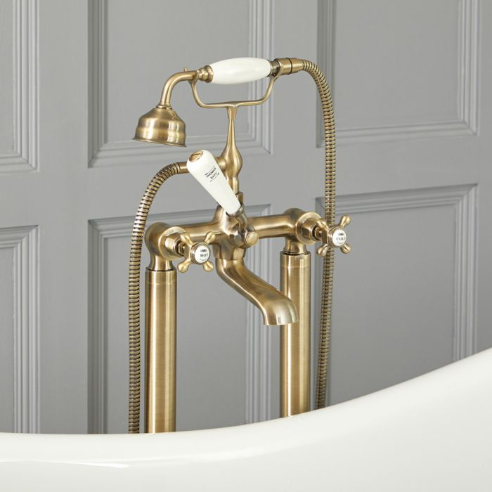 Milano Elizabeth - Traditional Freestanding Crosshead Bath Shower Mixer Tap with Hand Shower - Brushed Gold