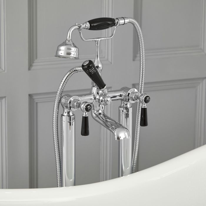 Milano Elizabeth - Traditional Freestanding Lever Bath Shower Mixer Tap with Hand Shower - Chrome and Black